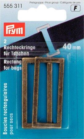 Prym Rechteckringe für Taschen 40 mm altmessing