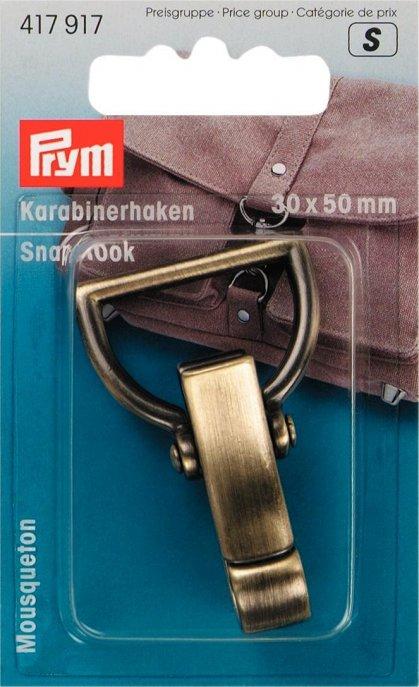 Prym Karabinerhaken 30 mm altmessing gebürstet