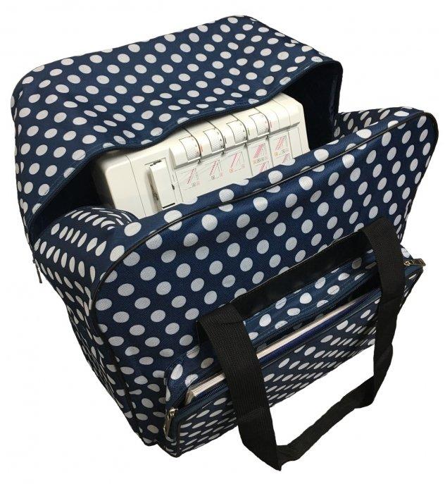 """Overlocktasche blau XL  44x37x41cm """"Dotty"""" gepunktet"""