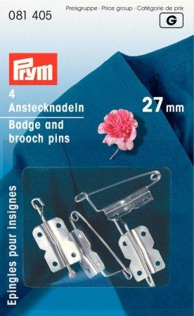 Prym Anstecknadeln m. Plättchen EIS 27 mm silberfarbig