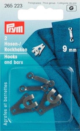 Prym Hosen/Rockhaken und Stege ST 9 mm schwarz