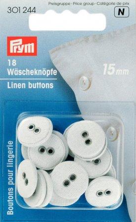 Prym Wäscheknöpfe Leinen 24 15 mm weiss