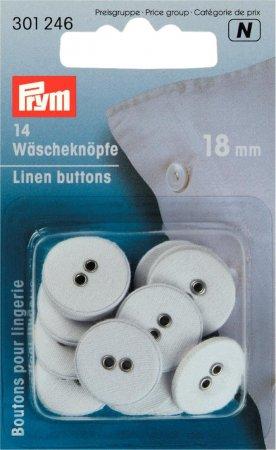 Prym Wäscheknöpfe Leinen 28 18 mm weiss