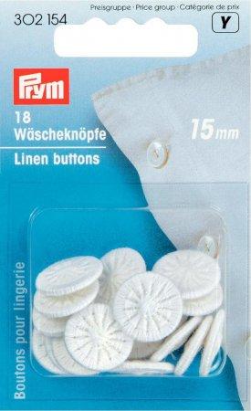 Prym Wäscheknöpfe Zwirn 24 15 mm weiss