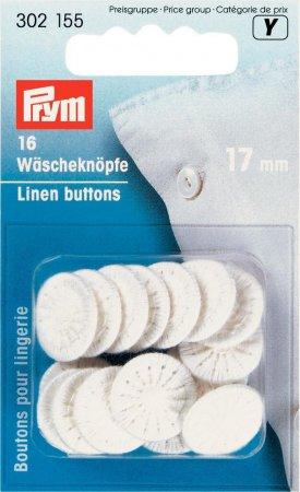 Prym Wäscheknöpfe Zwirn 26 17 mm weiss