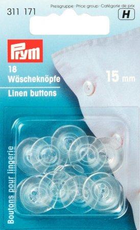 Prym Wäscheknöpfe Kunststoff 24 15 mm transparent