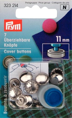 Prym überziehbare Knöpfe m. Werkzeug MS 11 mm silberfarbig