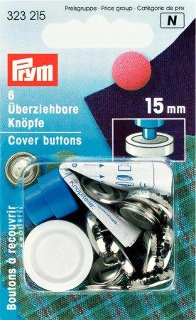 Prym überziehbare Knöpfe m. Werkzeug MS 15 mm silberfarbig