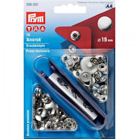 Prym NF-Druckknopf Anorak MS 15 mm silberfarbig