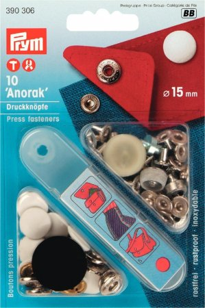 Prym NF-Druckknopf Anorak MS 15 mm weiss