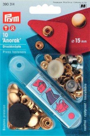 Prym NF-Druckknopf Anorak MS 15 mm goldfarbig