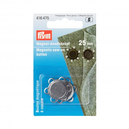 Prym Magnet-Annähknopf 25 mm silberfarbig