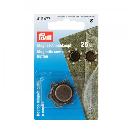 Prym Magnet-Annähknopf 25 mm altmessing