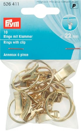 Prym Ringe mit Klammer 22 mm goldfarbig  NML
