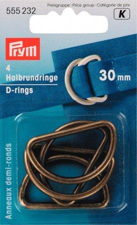 Prym Halbrundringe 30 mm altmessing