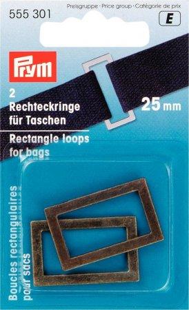 Prym Rechteckringe für Taschen 25 mm altmessing