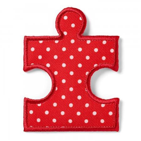 Prym Applikation Puzzleteil rot/weiss