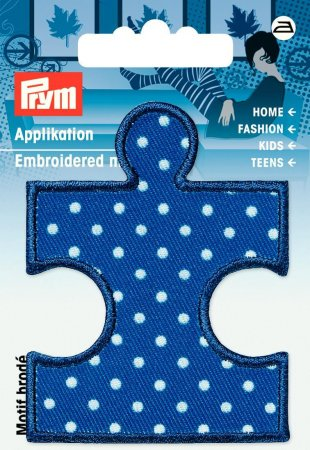 Prym Applikation Puzzleteil blau/weiss