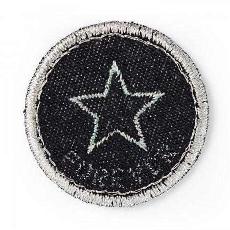 Prym Applikation Jeanslabel schwarz rund Stern