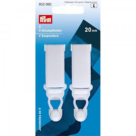 Prym V-Strumpfhalter Veloursband KST 20 mm weiss