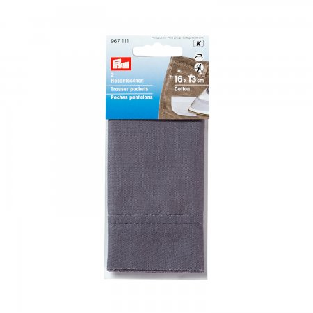 Prym Hosentaschen halb (bügeln) CO 16 x 13 cm grau